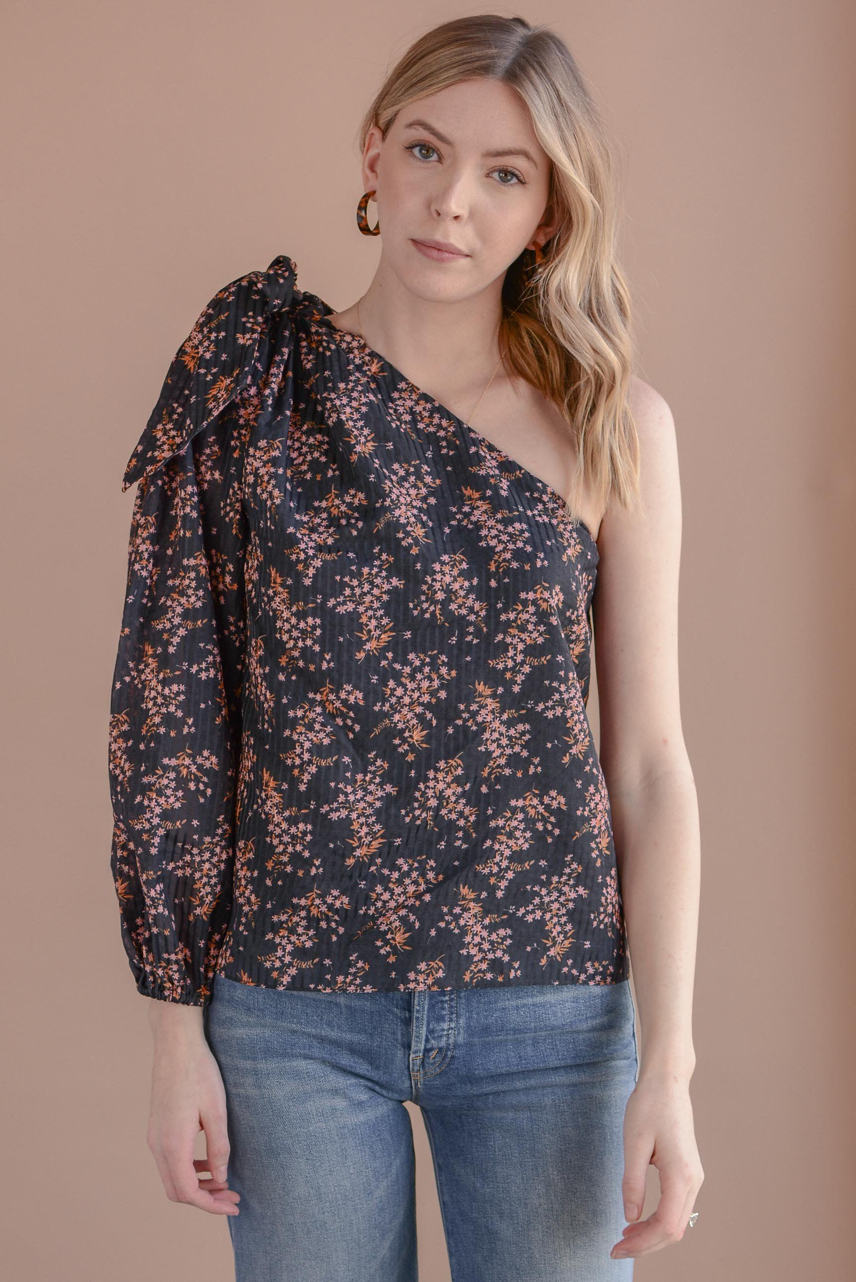 8e842603525 Flower Prints · Ulla Johnson Enid Blouse in Jet One Shoulder Tops, Ulla  Johnson, Cotton Silk,