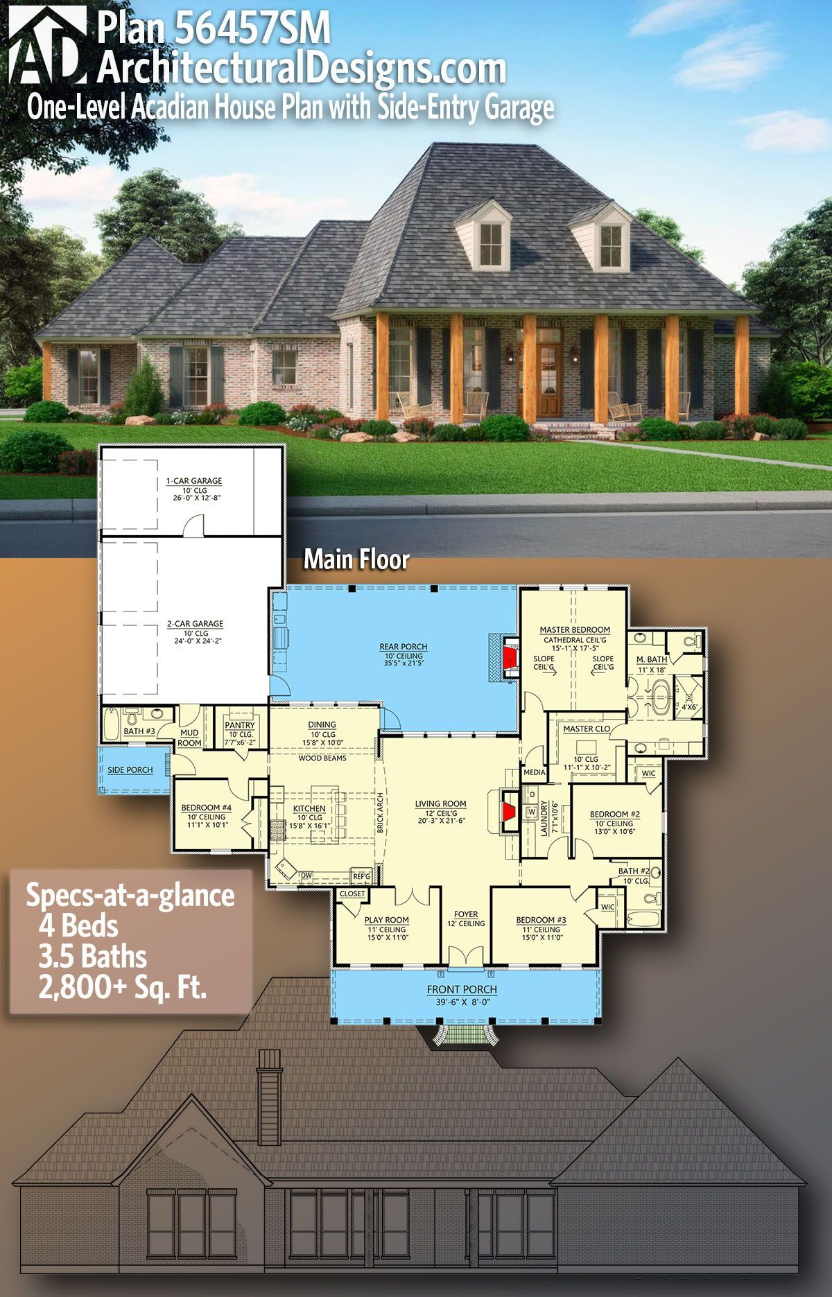 Plan 56457sm One Level Acadian House Plan With Side Entry Garage Acadian House Plans Barn House Interior Country House Plans