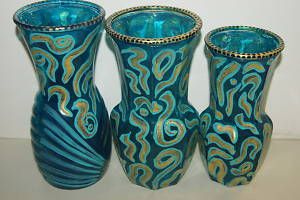 Signed Hand painted Art Glass Vase 3 Choices Turquoise Gold Zebra Pattern DGZ61.  For any questions or If you cannot locate this listing right away, please contact us at cheetahdmr@aol.com