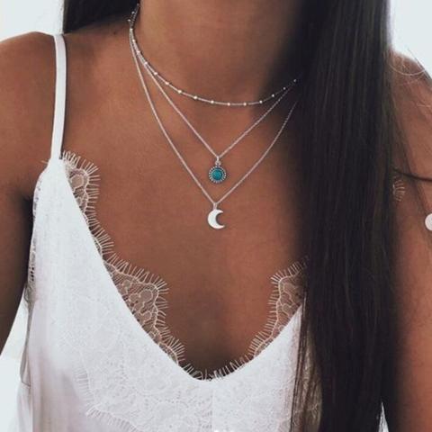 Boho Silver Choker Necklace Pendants Bohemia Jewelry for women -   15 women's jewelry Necklace silver ideas