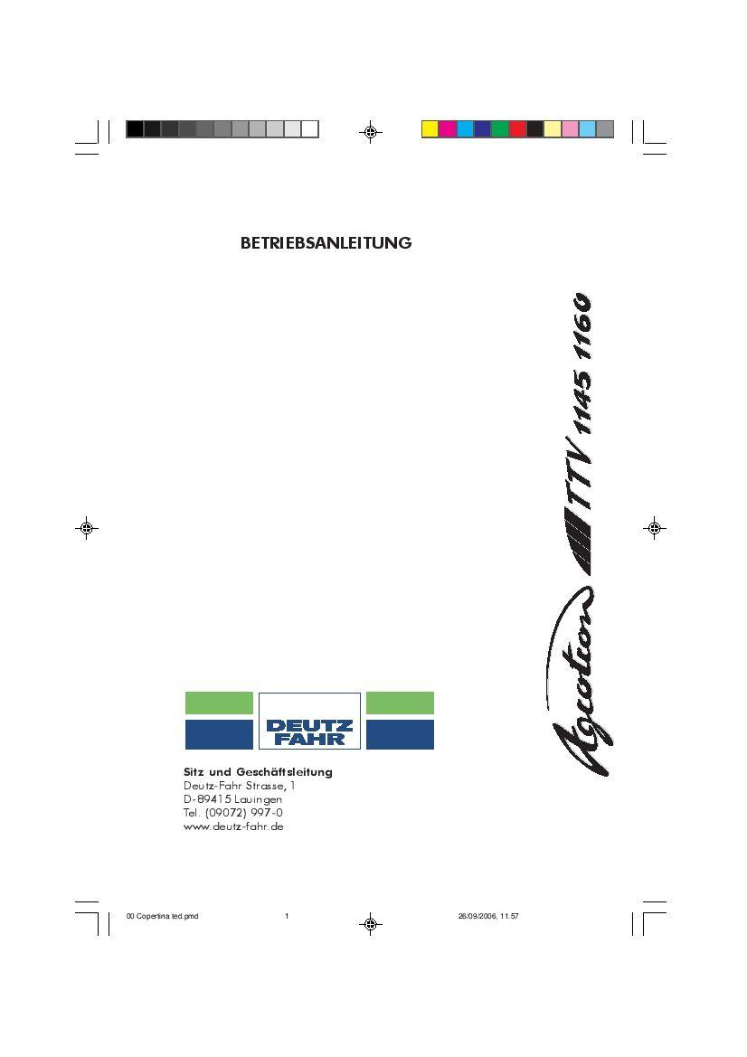 DEUTZ-FAHR AGROTRON 1145-1160 TTV Deutsch User Manual PDF