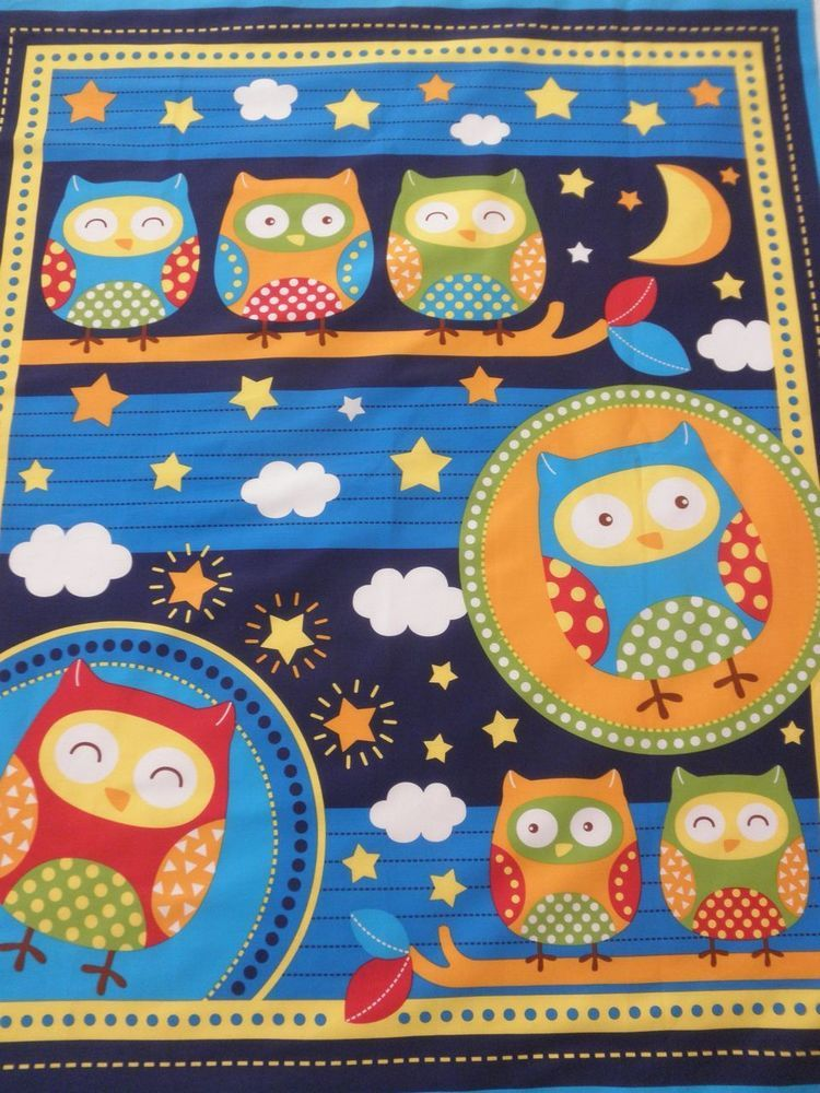 BABY COT PANEL Quilt Fabric - OWL Orange Green Red Blue OWLS in ... : baby cot panels for quilting - Adamdwight.com