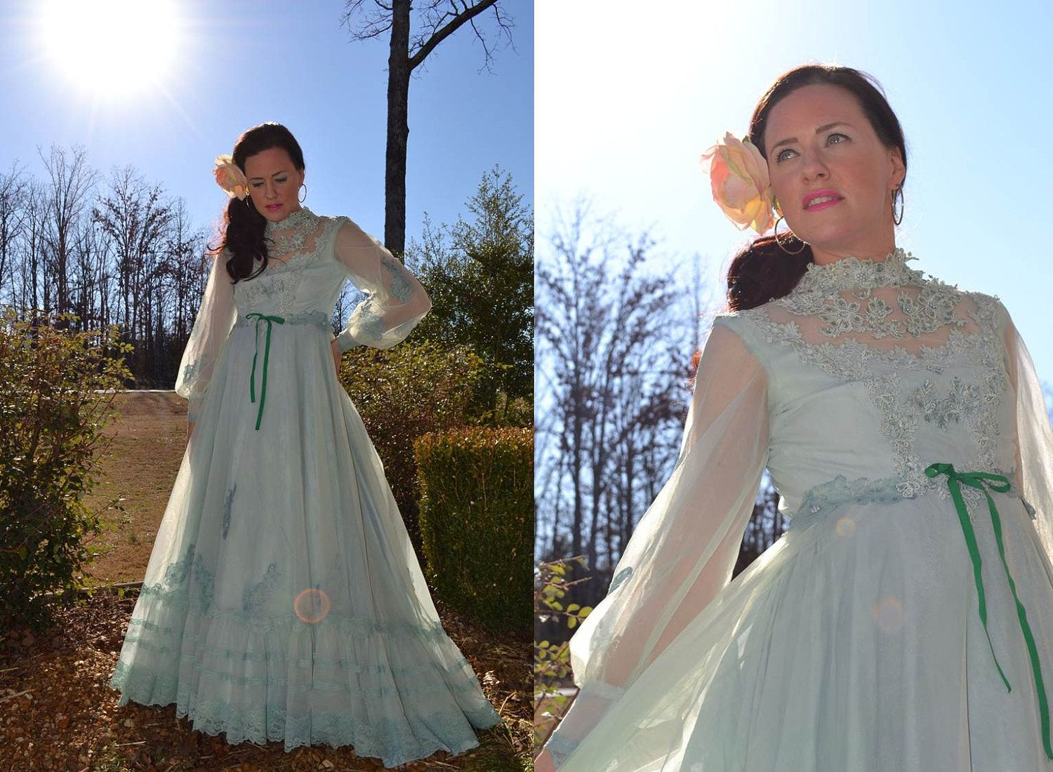 Lace Sage Victorian Chiffon green gown dress Ethereal,Cinderella ...