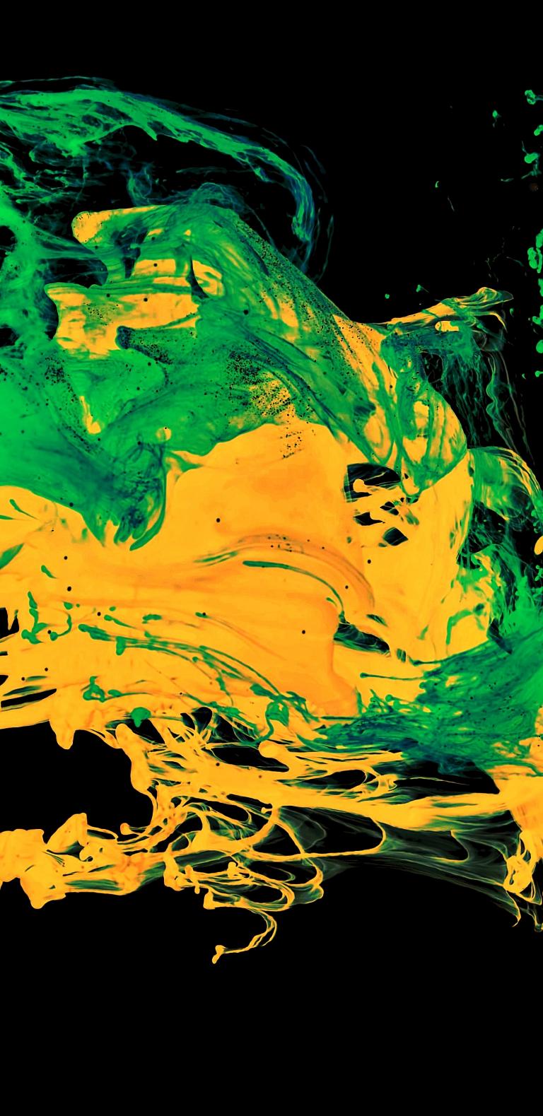Oled Iphone 11 Pro Green Wallpaper Idownloadblog Paint Splatter 768x1579 Sfondo Iphone Sfondi Iphone Sfondi
