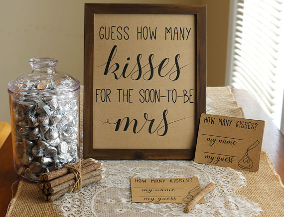 This is a picture of Shocking Guess How Many Kisses for the Soon to Be Mrs Free Printable