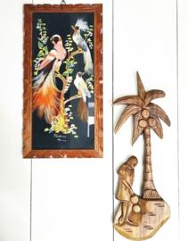 Vintage Wanddecoratie Houtsnijwerk Palmboom Houtsnijwerk Palmboom Vintage