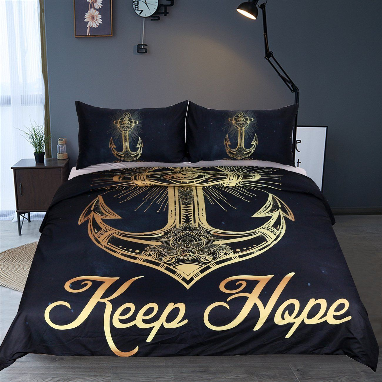 Amazon Com Sleepwish Gold Anchors Navy Blue Background Duvet Cover Set 3 Pieces Anchor Nautical Keep H Duvet Bedding Sets Blue Bedding Sets Queen Bedding Sets