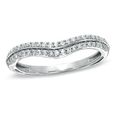 My Wedding Band From Zales 1 5 CT TW Diamond Double Row Contour