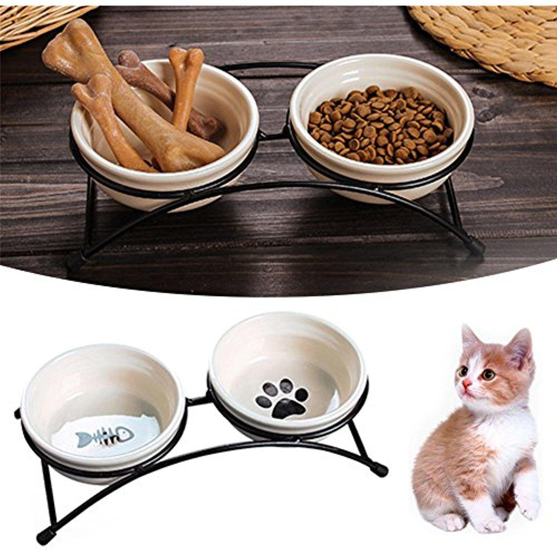 Awtang pet cat dog bowl painted ceramic bowls set with