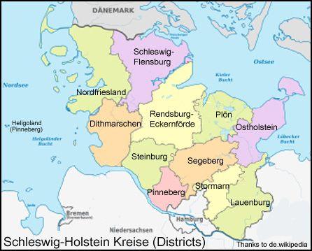 SchleswigHolstein Kreise Districts map Germany Schleswig