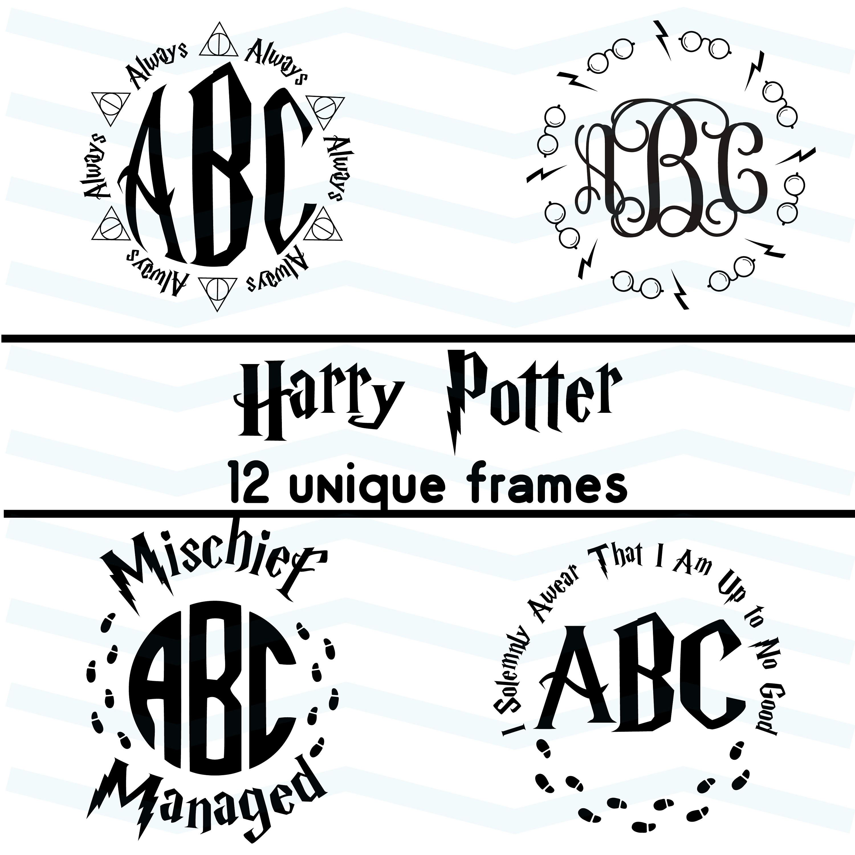 Harry Potter Round Frames Svg Sorting Hat Svg Snitch Svg Expecto Patronum Deathly Hallows Potter Clip Cricut Silhouette Monogram Silhouette Cameo Projects