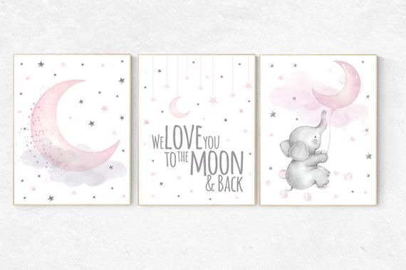 Baby room decor elephant, Nursery decor girl pink and gray, nursery decor girl pink, nursery wall art girl, we love you to the moon and back ● All posters are printed on high quality 255 gsm 68 lb professional paper with high-end professional grade equipment. ● I ship smaller size posters (5x7 and