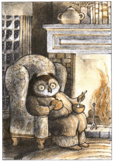 From Owl at Home.  Written and illustated by Arnold Lobel. (In this picture Owl is eating warm pea soup and winter is knocking at the door.)