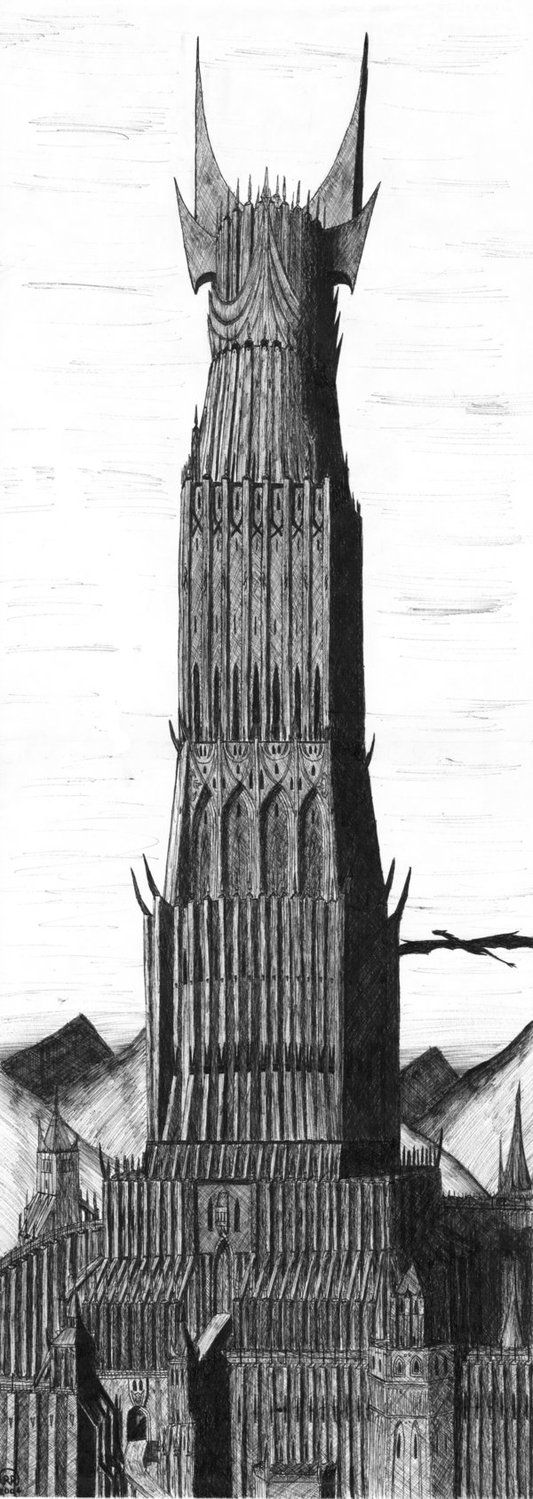 barad dur the tower of mordor lotr drawing