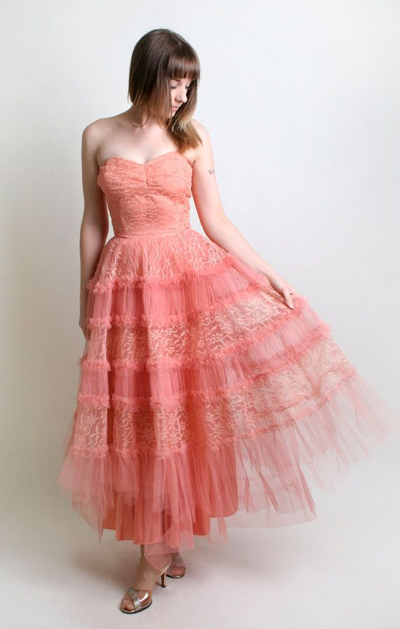 1950s Prom Dress - Vintage Coral Tulle Strapless Gown - Small | Amor ...