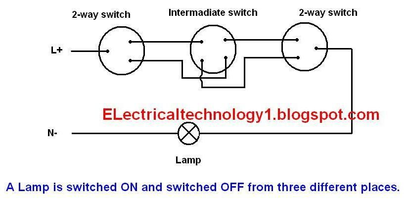 What is Intermediate switch its construction working principle and uses in different wiring (lighting etc) circuits?