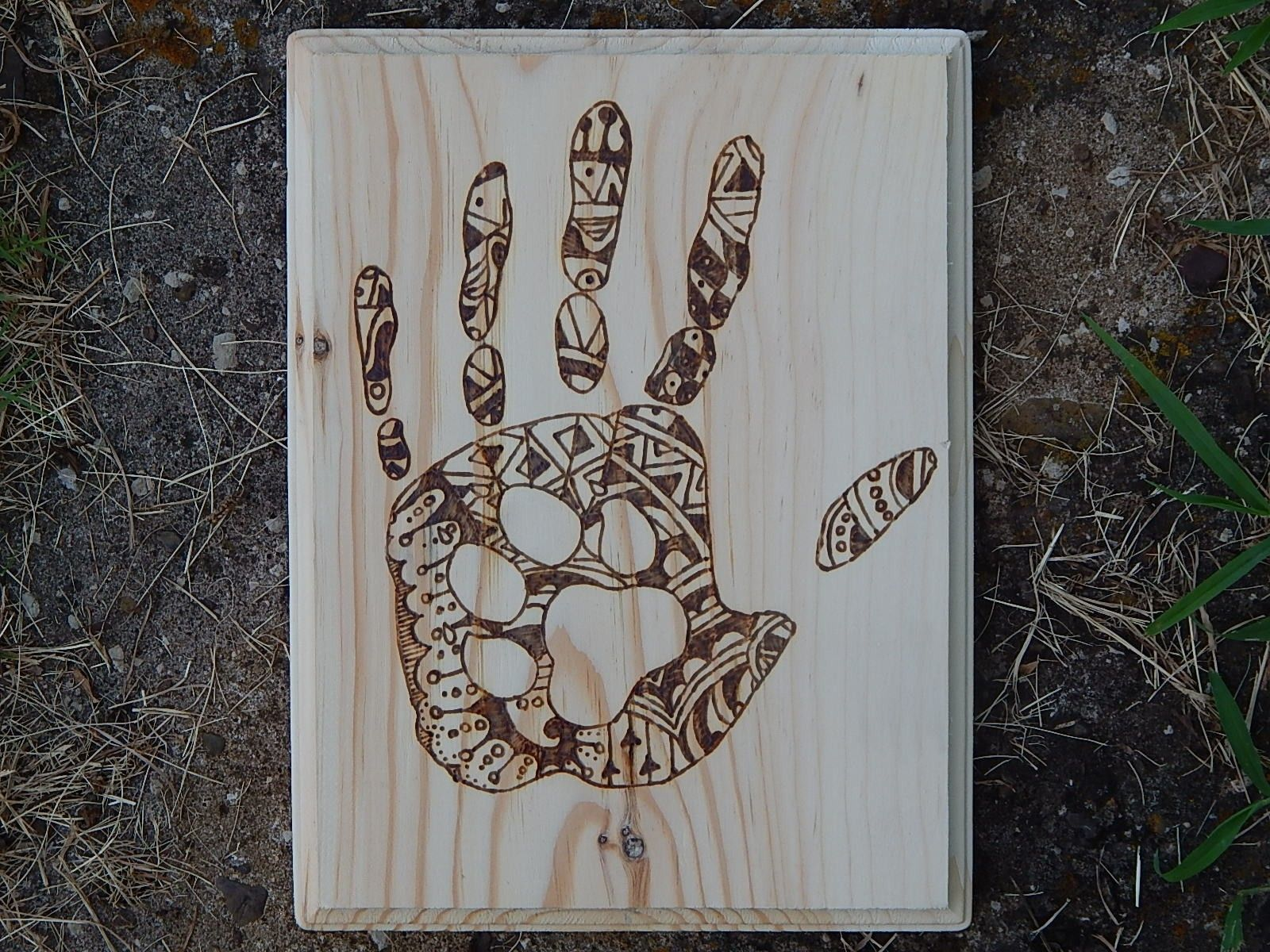 Patterned Hand With Paw Print Wood Burned Decor Wood