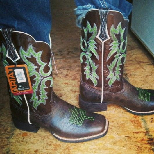 Ariat lime green square toed boots, Hubby bought me these ...