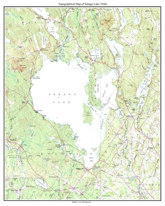 Topographic Map Usgs.Sebago Lake Ca 1949 Old Topographic Map Usgs Custom Maine Lakes