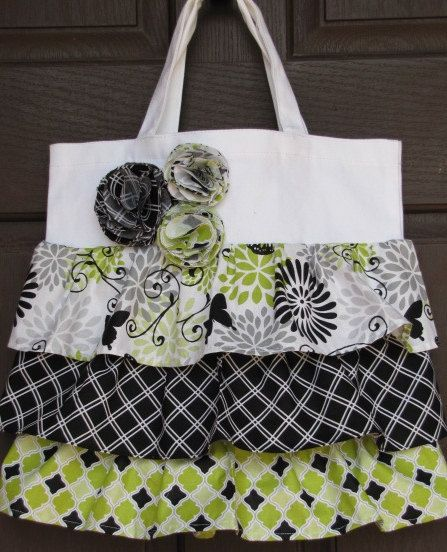 Glamour Girl Butterfly Ruffle Tote Bag By Wickedlycrafty On Etsy