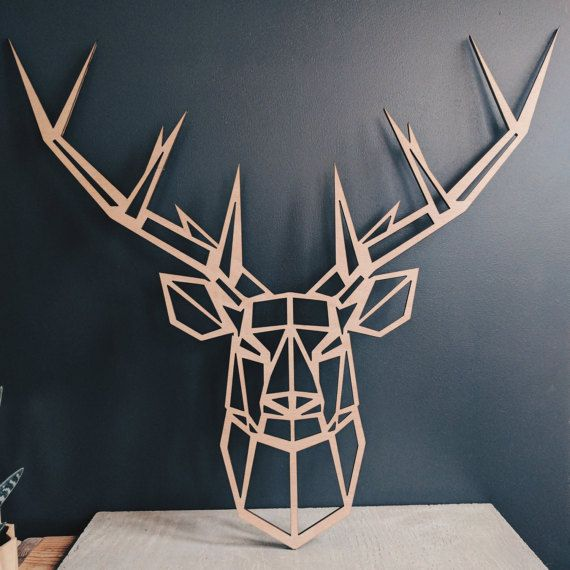 Décoration Murale Tête De Cerf Large Geometric Deer Head In Okoumé Wood (55cm X 50cm