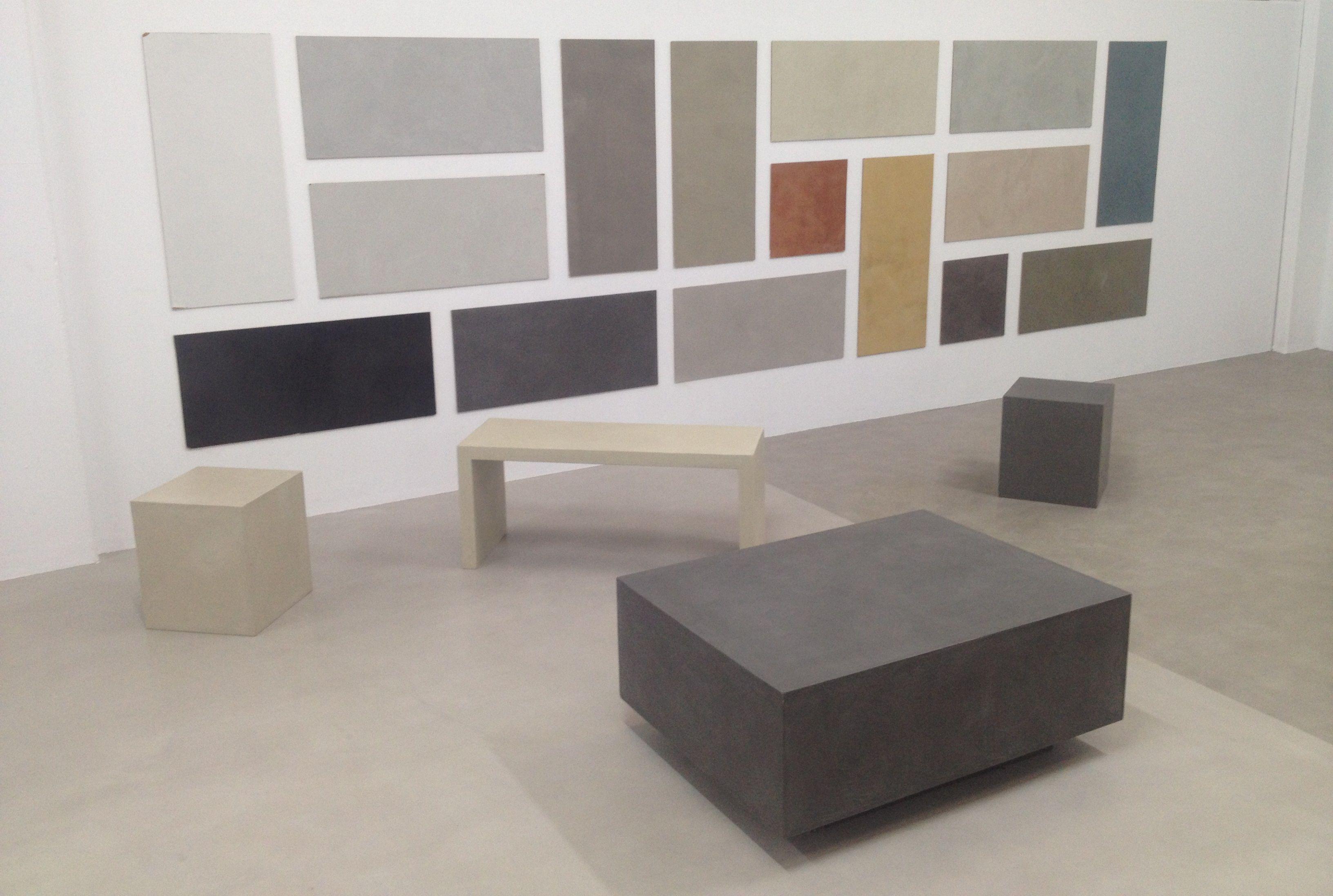 Beton cire microcemento cemento pulido colores showroom