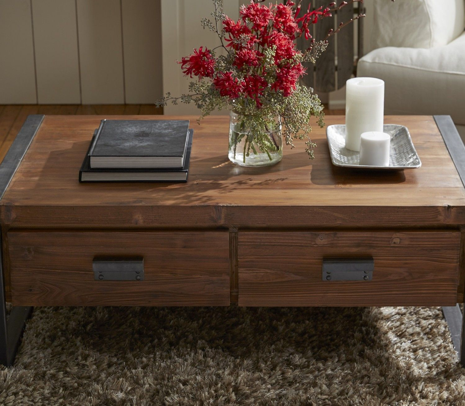 Industrial Coffee Table with Drawers Casa