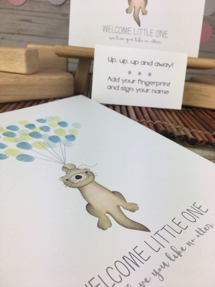 otter nursery like no otter otter thumbprint tree otterly amazing otter illustration fingerprint balloon guestbook Otter baby shower