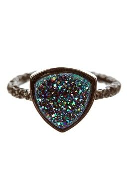 Nadia Agate Geode Druzy Stackable Ring........ I want it!