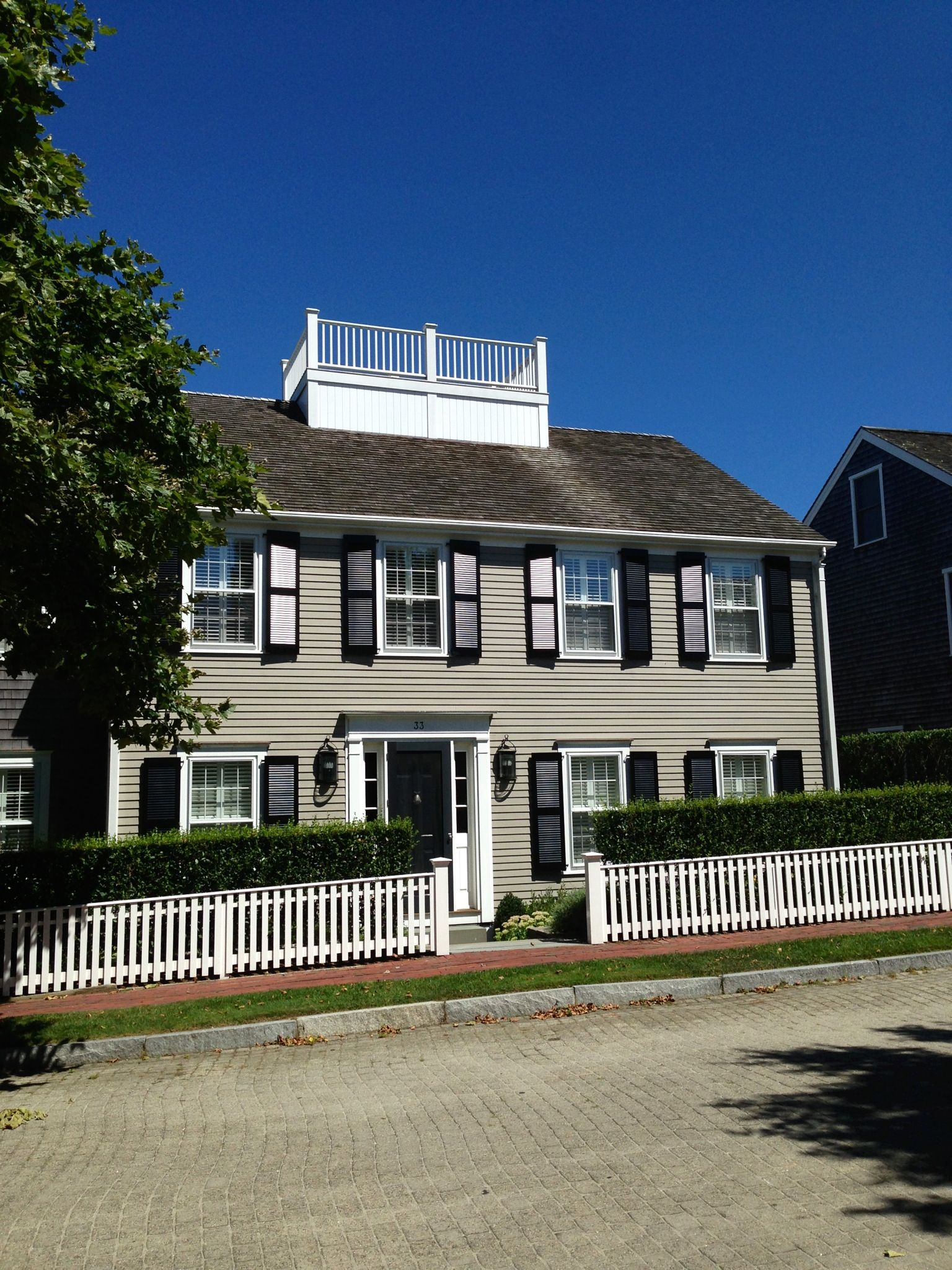 Briarwood Benjamin Moore Home Exterior Paint With Black Shutters At Our Home In Nantucket