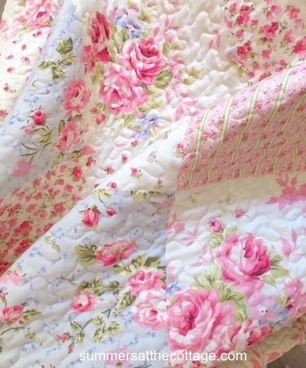 Photo of SHABBY PINK ROSES COTTAGE BLUE PATCHWORK CHIC QUILT SET – QUEEN or KING