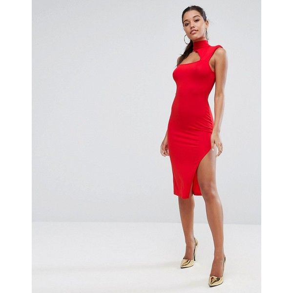 ASOS Shoulder Pad Asymmetric Bodycon Midi Dress (155 RON) ❤ liked ...