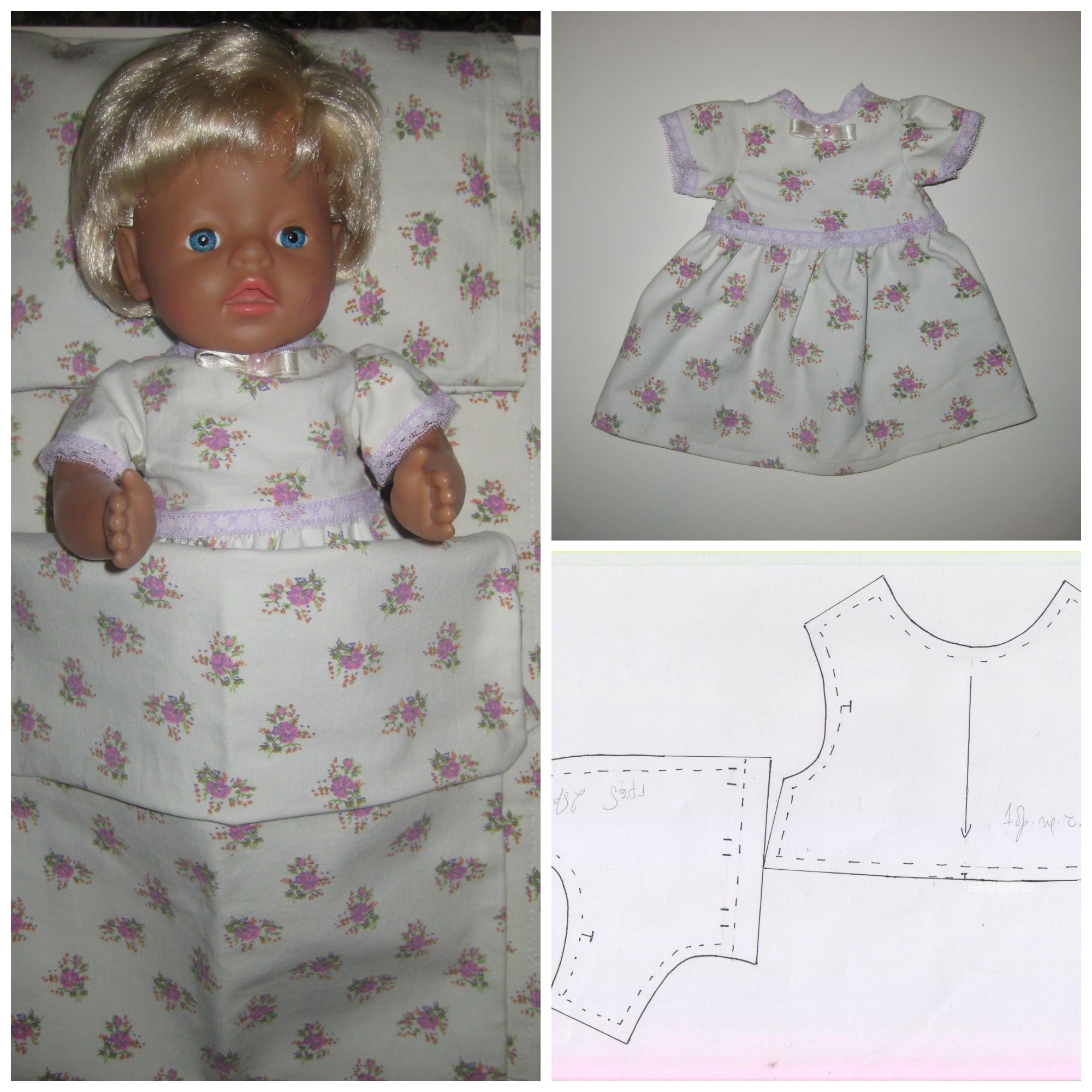 Free Pdf Downloadable Pattern For Baby Born Dress At Www Babybornpatterns Com Baby Sewing Patterns Free Baby Doll Clothes Patterns Baby Patterns