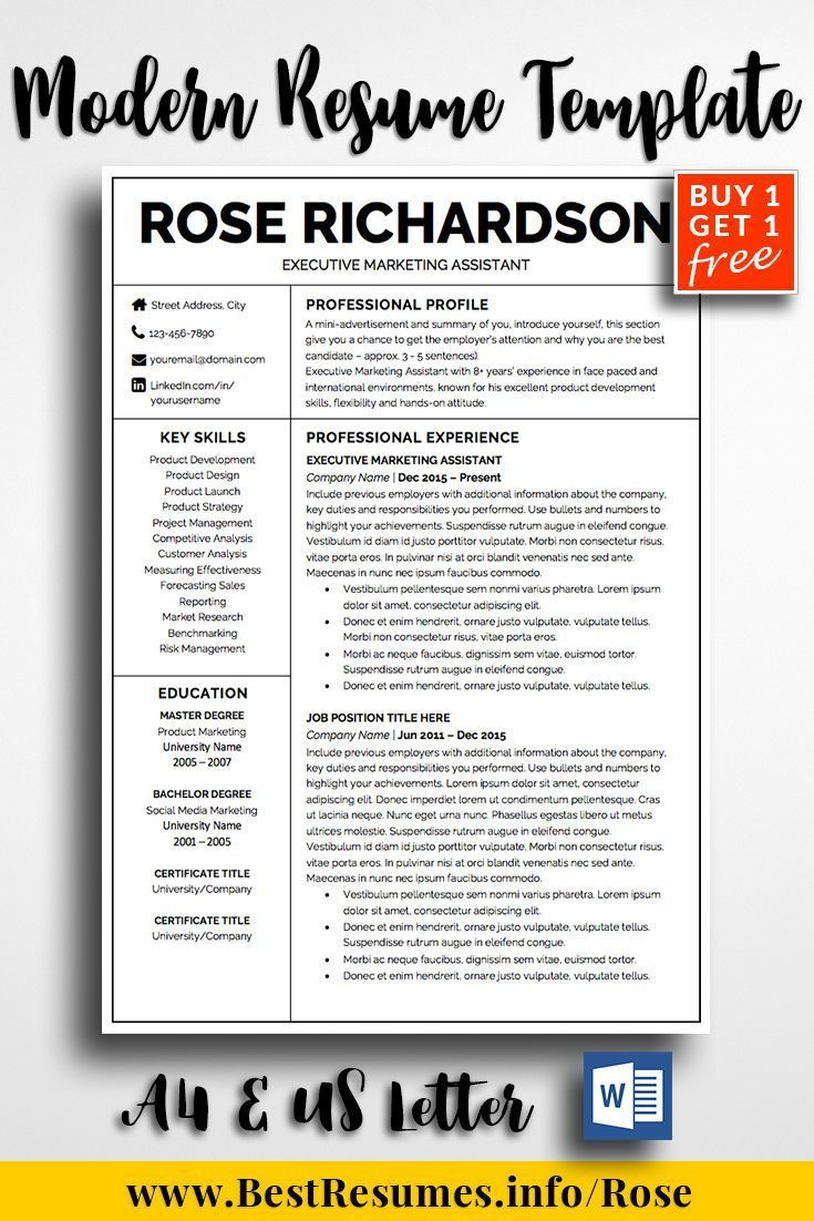 Professional Resume Template Rose Richardson - One page resume template, Job resume template, Resume template professional, Resume template, Best resume template, Teacher resume template - Resume Template Rose Richardson  A modern and easy to edit resume template! Stand out with your resume and get the job you've always wanted! Check here