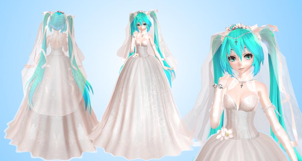 TDA Model 132 Miku bride MMD by NekaSan | Hatsune Miku | Hatsune