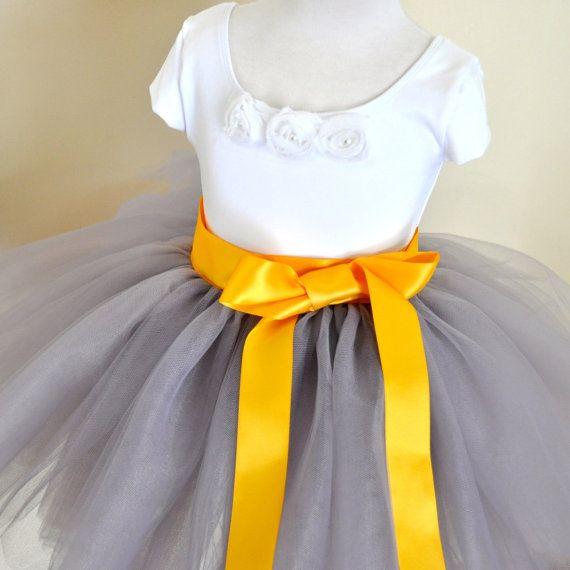 Dove grey Flower Girl short 8 layer tutu with sunflower yellow satin ribbon sash waist. Sewn, no tied knots. on Etsy, $90.00