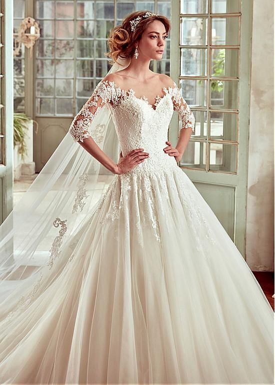 Marvelous Tulle & Satin Scoop Neckline A-Line Wedding Dresses With Lace Appliques