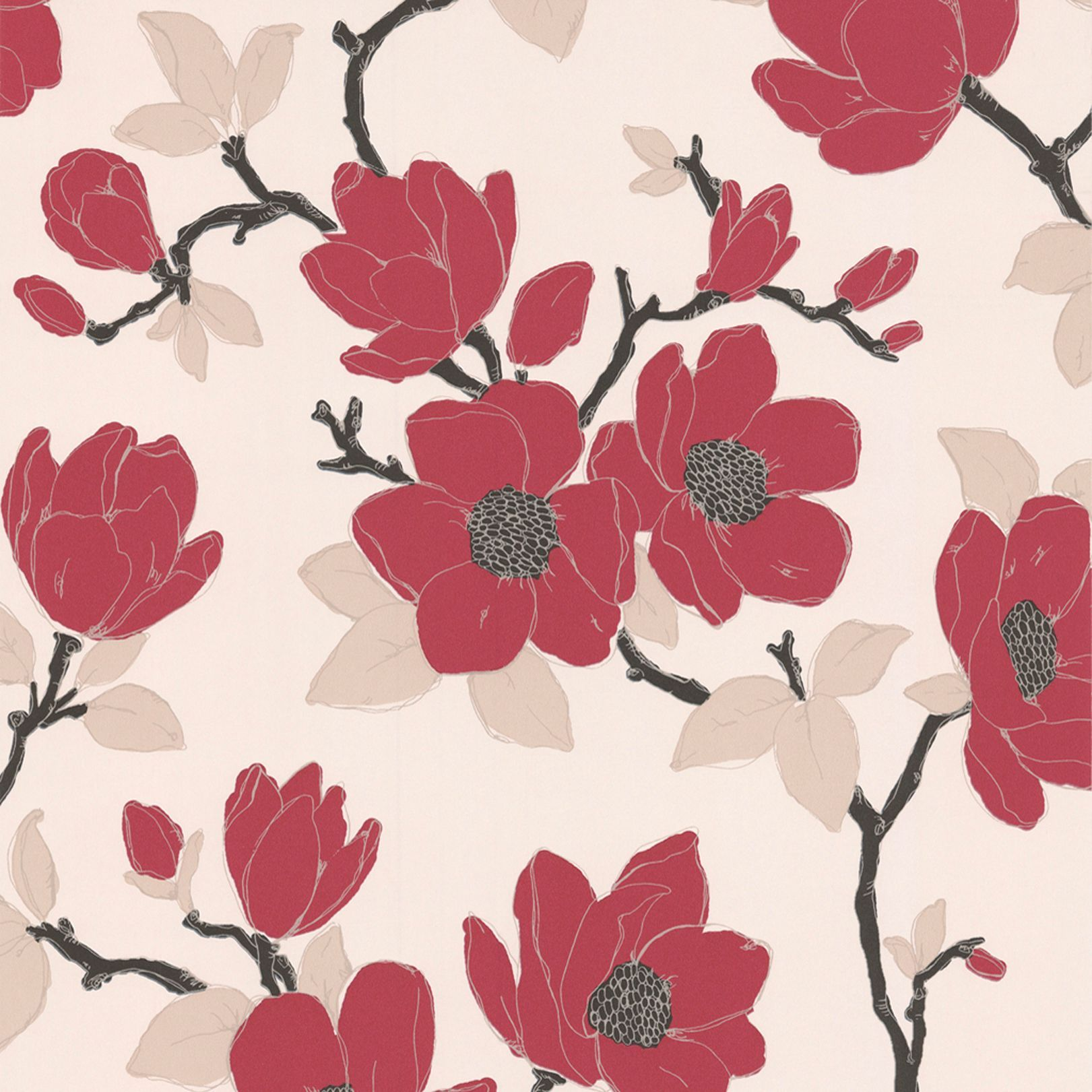 Graham Brown Elinor Carmine Cream Wallpaper Departments Diy At B Q Floral Wallpaper Cream Wallpaper Romantic Wallpaper