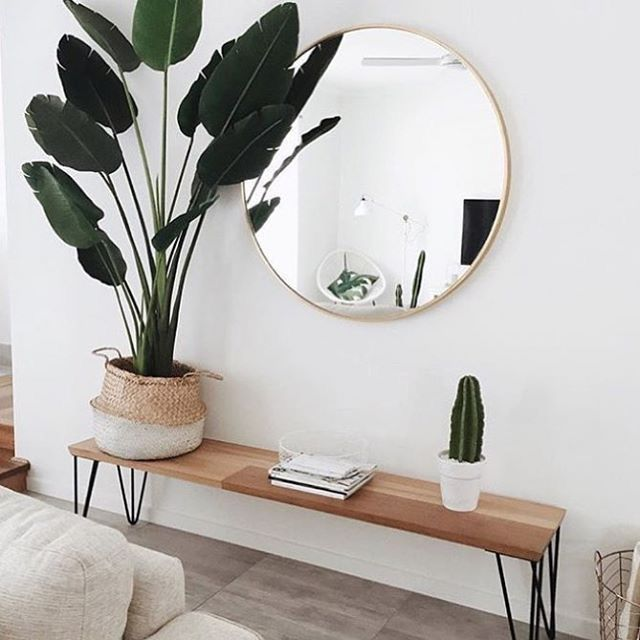 Entryway decor ideas front door bench chic modern natural wood accents design minimalist round mirror wall also rh pinterest