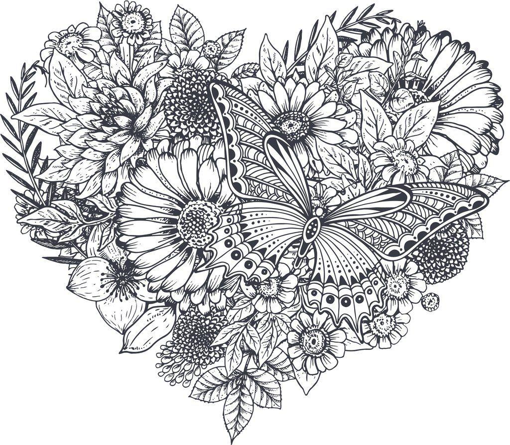 Pretty Black and White Butterfly Flower Heart Pen Art ...
