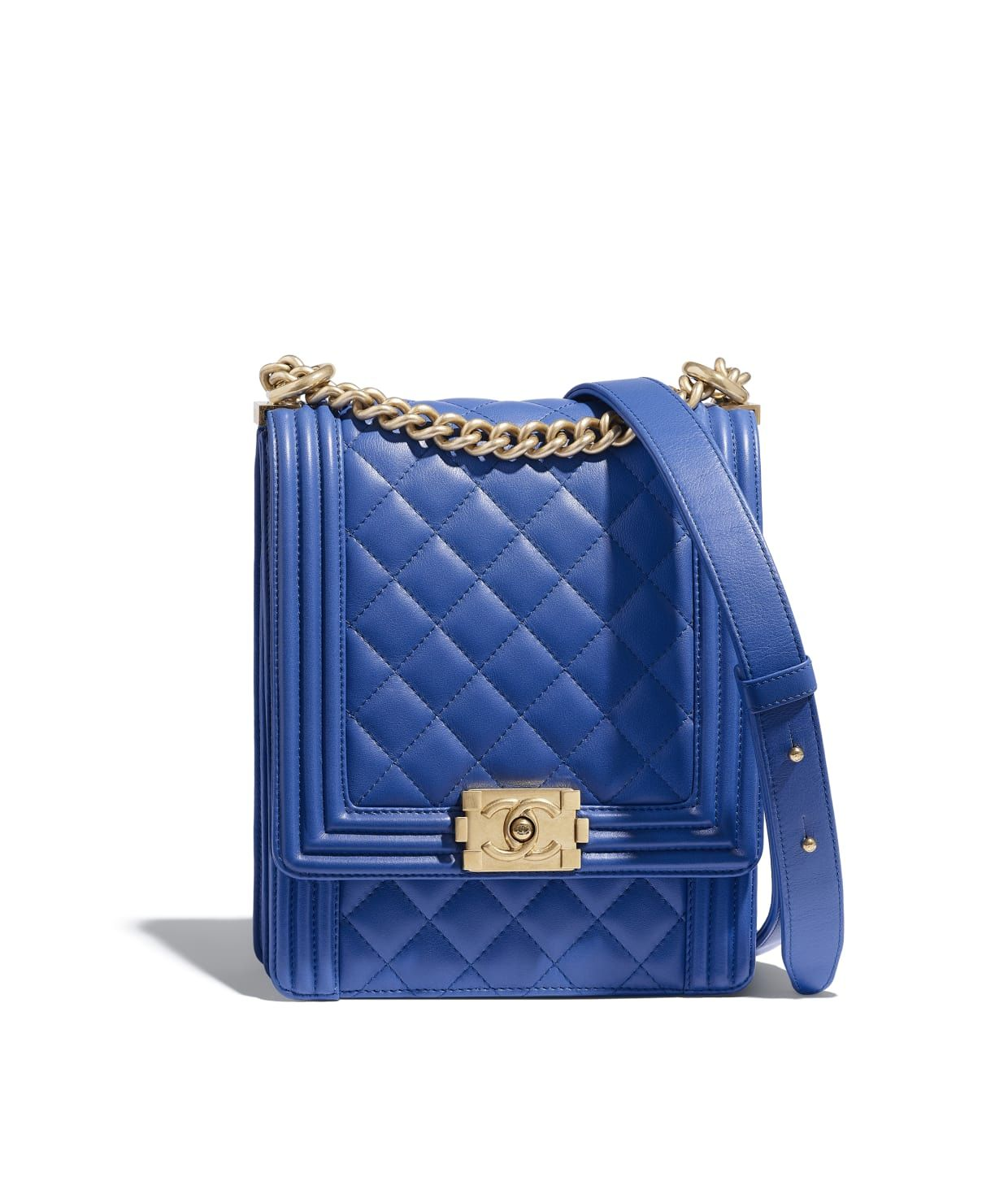 f1b7faa2f8bbc Calfskin   Gold-Tone Metal Blue BOY CHANEL Handbag in 2019