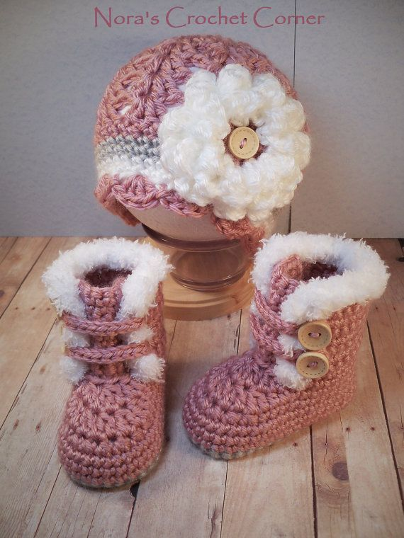 Crochet Baby Girl Fur Trim Boots and Hat with Flower - 321 | Rote ...