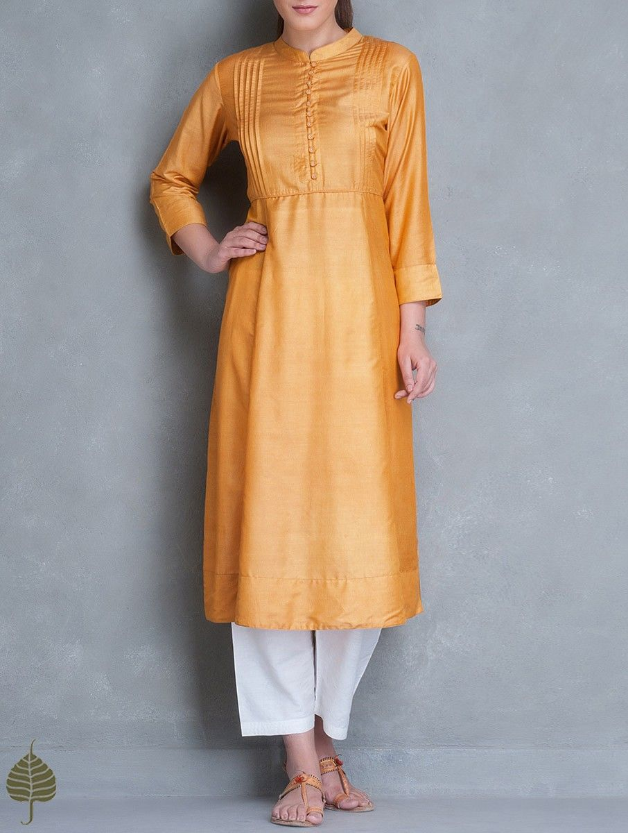 Buy Ochre Silk Cotton Pleated Yoke Kurta by Jaypore Women Tunics ...