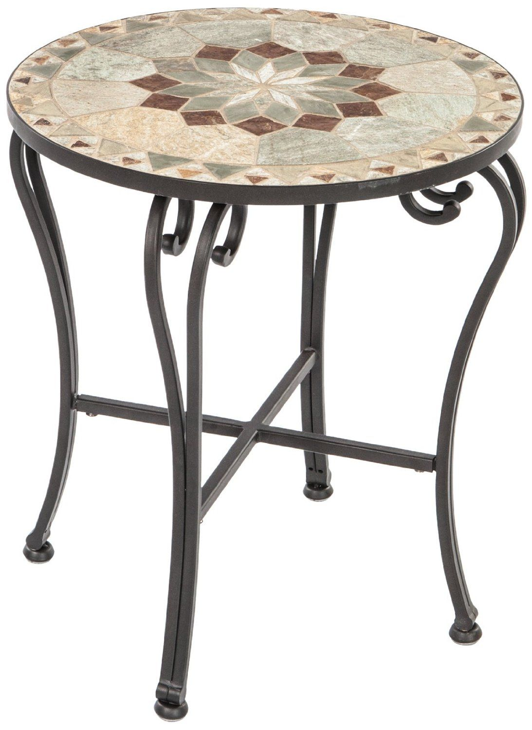 amazoncom alfresco home notre dame indoor outdoor marble mosaic side table patio