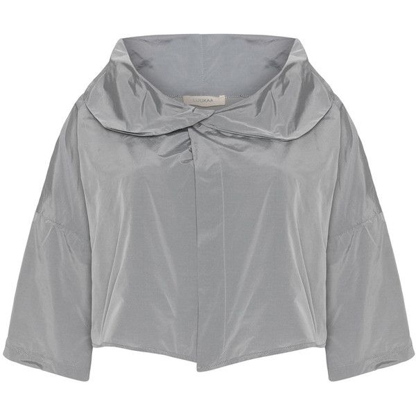 Luukaa Silver Plus Size Shawl collar boxy jacket ($88) ❤ liked on ...