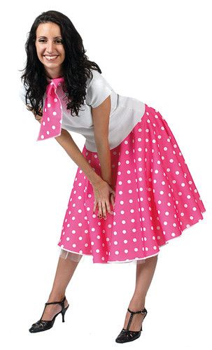 5379cf230047 Ladies Polka Dot Rock N Roll Skirt & Scarf Fancy Dress Costume. ROCK N ROLL  50'S SKIRT FANCY DRESS ADULT ALL COLOURS | eBay