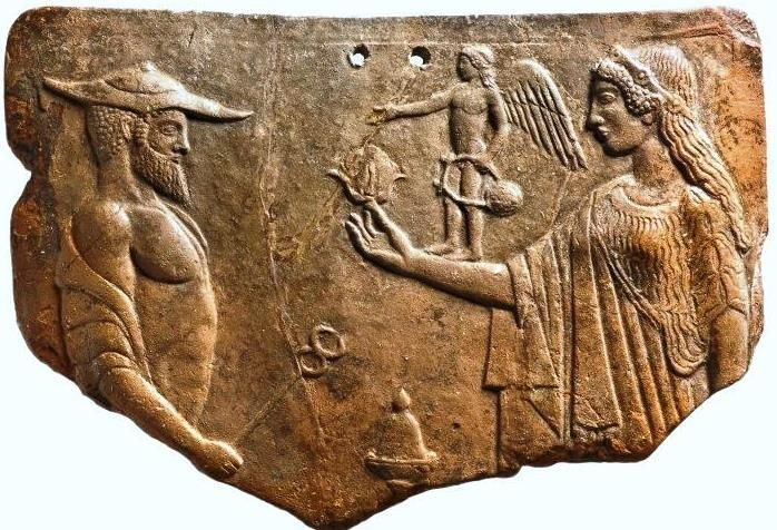 Votive Relief showing Aphrodite, Eros and Hermes - circa 460-420 BC, from Attica, Classical period
