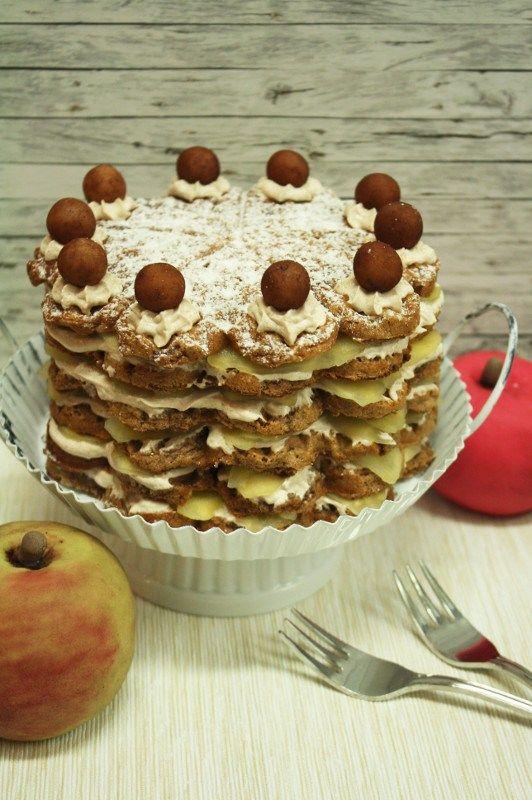 Wapfelkuchen, ein Apfelkuchen aus Waffeln.  #Rezept #Waffeln #Apfelkuchen