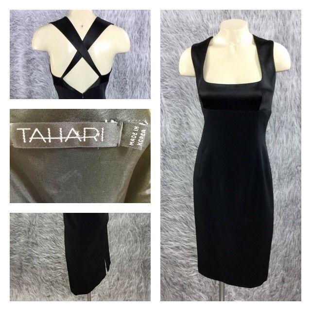 Tahari Womens Size 4 Black Formal Square Neck Criss Cross Back Sheath Dress  | eBay