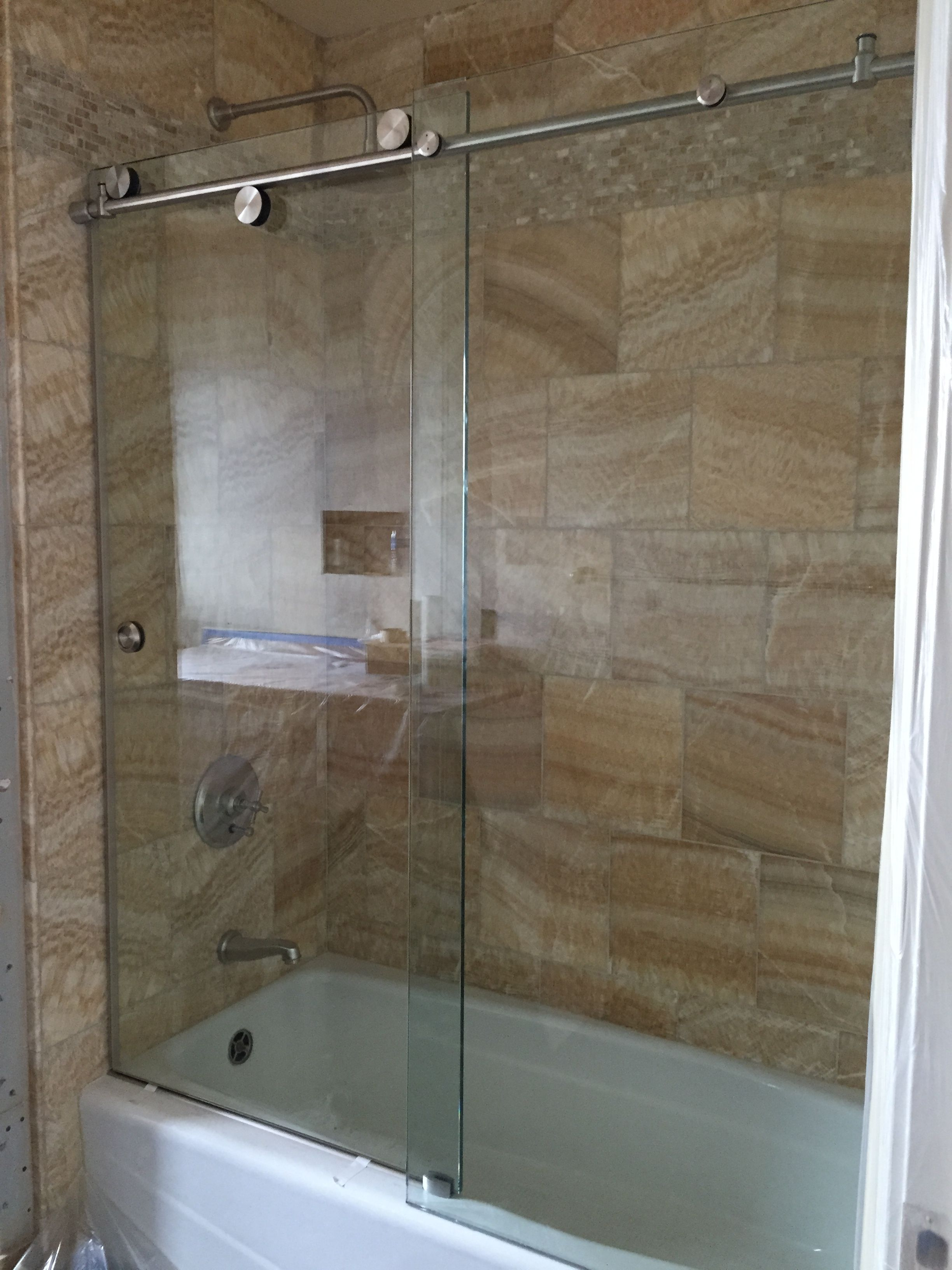 Cardinal Skyline Series Enclosure 1 2 Clear Tempered Glass With Brushed Stainless Hardware Glass Tub Shower Doors Tub Enclosures